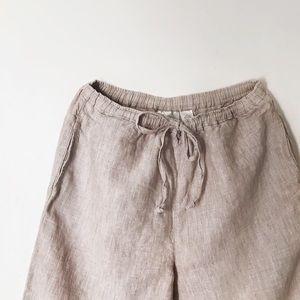 Studio Works Linen Crop Wide Leg Pants w/ Pockets